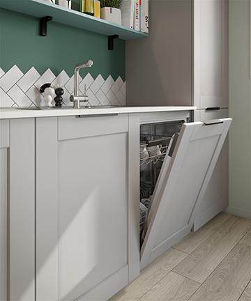 Perspective 3D de lave-vaisselle dans une cuisine moderne