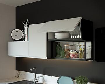 Image 3D d'un meuble de cuisine et étagères pour un projet publicitaire