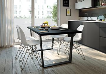 Perspective 3D d'une table dans une cuisine moderne