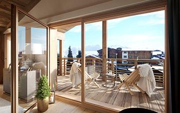Perspective 3D d'une terrasse de chalet de montagne avec vue sur les Alpes