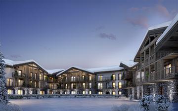 Perspective 3D de l'extérieur d'un resort de montagne dans les Alpes