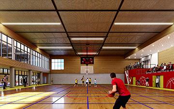 Salle de sport en 3D réalisée par Valentinstudio pour un concours de visualisation architecturale
