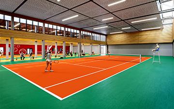 Perspective 3D d'intérieur d'une salle de tennis pour un concours