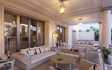 Visualisation 3D d'une terrasse couverte de villa de luxe au Maroc