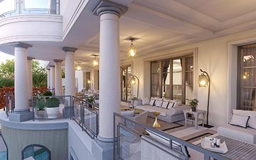 Création 3D d'image de terrasse couverte pour un projet de villa de luxe
