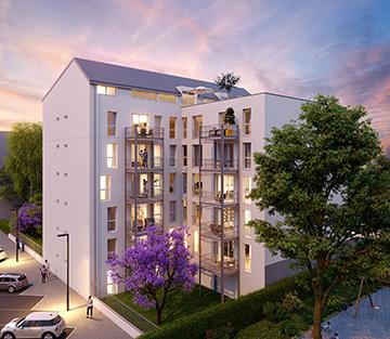 Vue architecturale en 3D de l'extérieur d'un immeuble pour de la promotion immobilière