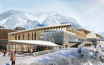 Visualisation 3D de l'extérieur d'un centre sportif en architecture bois dans les Alpes