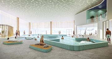 Création d'un intérieur de piscine en 3D par un studio de visualisation architecturale