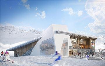 Visualisation 3D de l'extérieur d'un centre sportif de montagne