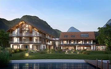 Perspective extérieure d'un jardin en 3D pour la promotion immobilière d'une résidence