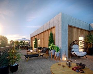 Visualisation 3D de l'extérieur d'un logement de haut standing pour sa promotion immobilière
