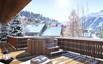 Création 3D d'une terrasse de chalet de luxe avec jacuzzi et vue sur les Alpes