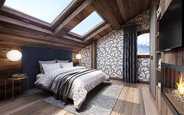 Vue 3D d'une chambre de chalet de luxe à Megève