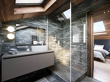 Visualisation 3D d'une salle de bain de luxe dans un chalet