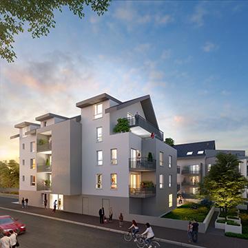 Visualisation architecturale 3D de l'extérieur d'un immeuble pour de la promotion immobilière