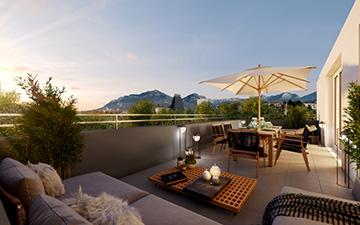 Création d'une image de terrasse en 3D pour la promotion immobilière du bien