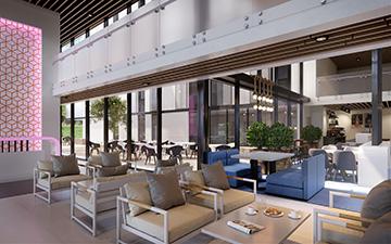 Image numérique d'un hall d'hôtel en 3D par un studio de graphistes 3D