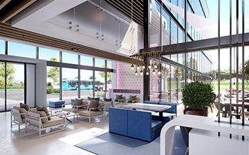 Réalisation d'une vue 3D d'un hall d'hôtel par une agence
