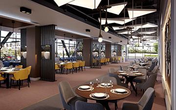 Rendu 3D d'un restaurant d'hôtel pour sa promotion
