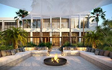 Rendu 3D de l'extérieur d'une villa au Maroc pour un projet de luxe