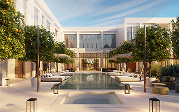 Visualisation 3D d'une piscine de villa au Maroc