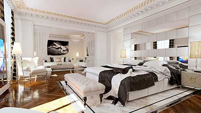 Photo 3D d'une chambre avec décoration de type Haussmann.