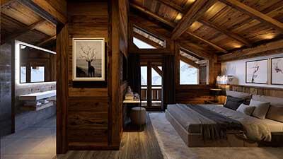 Rendu d'une perspective 3D d'une chambre de chalet de luxe à la montagne.