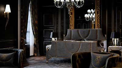 Réalisation de prise de vue en 3D : Chambre de luxe.
