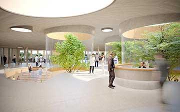 Perspective en image de synthèse d'un hall pour un concours d'architecture