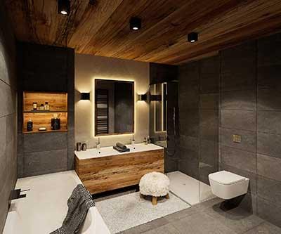 Création d'une perspective 3D de Salle de bain pour promotion immobilière.