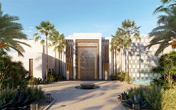 Rendu 3D de l'entrée d'une villa au Maroc