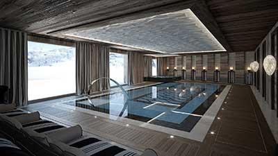 Création d'image architecture 3D de piscine de luxe à la montagne.