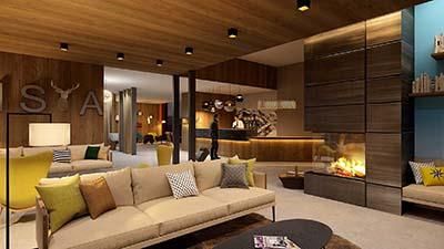 Perspective 3D d'une réception par l'agence Valentin Studio 3D.