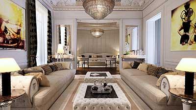 Photo 3D d'un salon de luxe de type Haussmann pour projet immobilier 3D