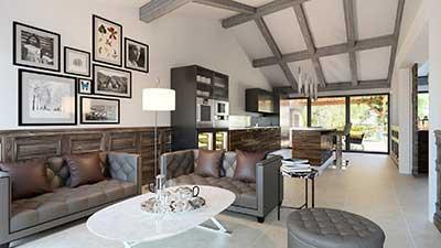 Photo en 3D pour le salon de cette villa de luxe à l'Île-de-Ré.