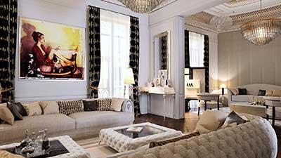 Rendu 3D d'un salon de luxe Haussmann par agence 3D à Lyon.