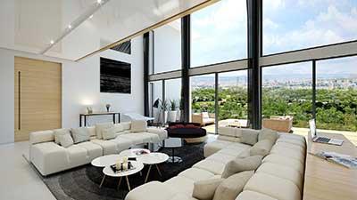 Vue architecte 3D d'un salon de villa à Lyon.