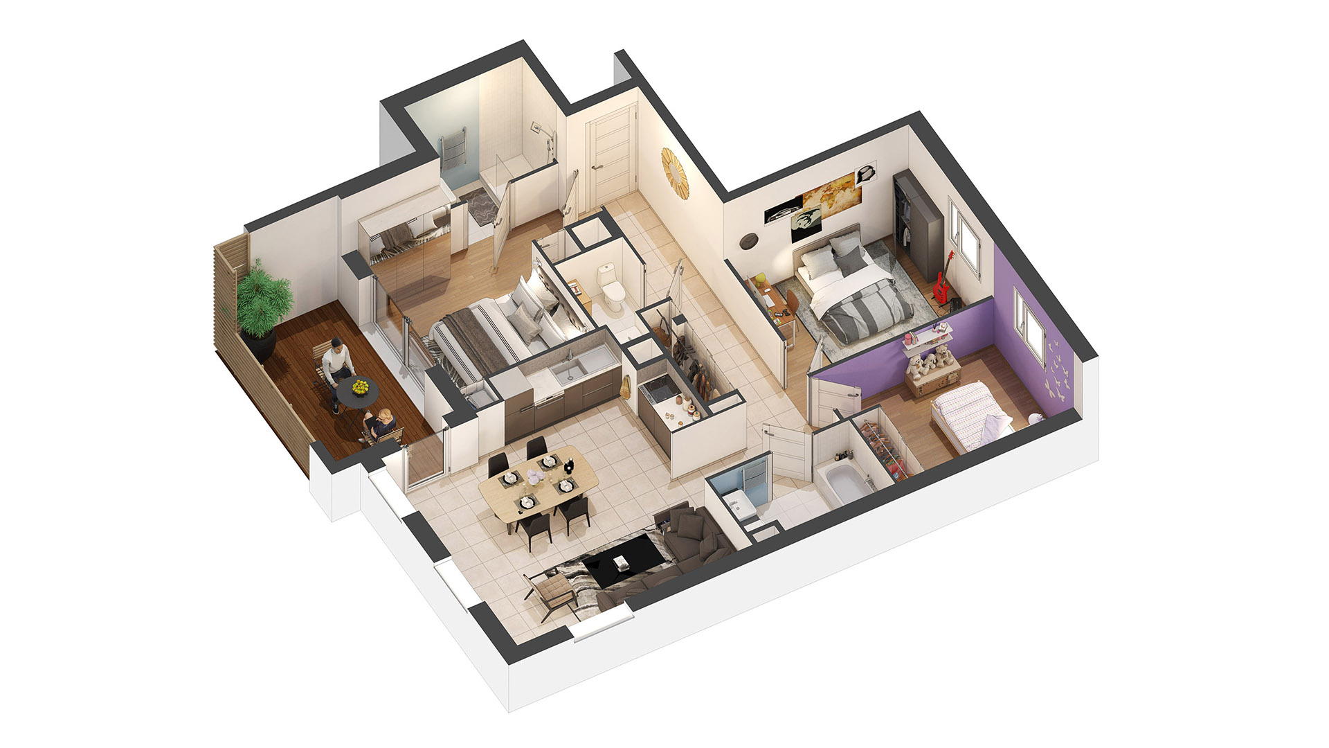 3d graphic design agency creating 3d sales plans for Appartement design plan