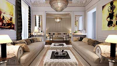 Creation 3D photo : perspective living room luxurious apartment